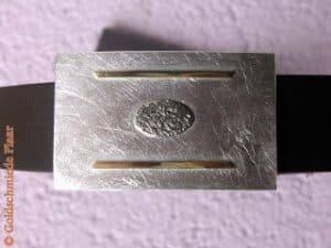 eckige Gürtelschnalle Silber mit Gold