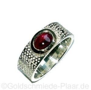 Silber-Ring mit Granat in goldener Fassung