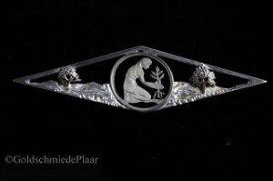 Brosche Silber mit 50 Pfennig Stück