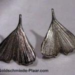 Ginkgo-Blatt Stecker Silber