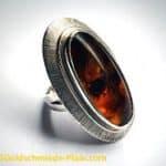 Silber-Ring mit Bernstein