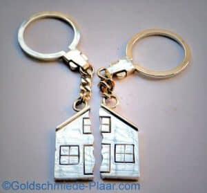 Schlüsselring Haus geteilt Silber