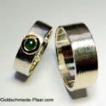 Trauringe Silber mit Smaragd