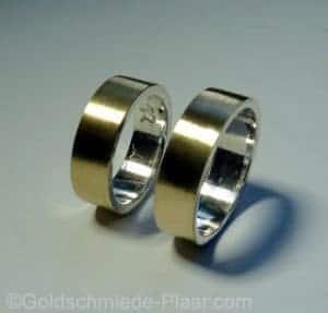 Trauringe aus Silber und Gold