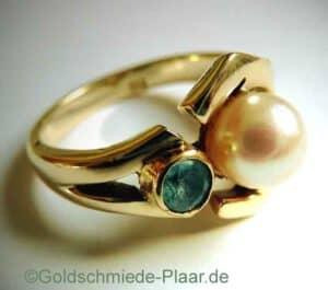Gold-Ring mit Perle und Aquamarin