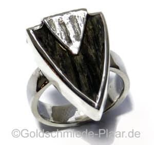 Silber Ring mit Ebenholz
