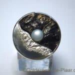 Kokosnuss-Ring mit Zuchtperle aus Silber