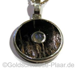 Kettenanhänger Silber mit Kokosnuss und Spektrolith
