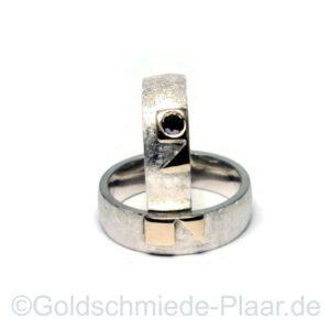 Trauringe nach Kundenentwurf, Silber Gold Brillant